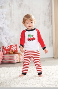 Boy's Christmas Pajama Set: Mud Pie Red Car Boy's Holiday Lounge Set - SOLD OUT