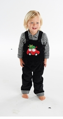 Boy's Holidays Black Overalls: Mud Pie Boy's Christmas Corduroy Overalls