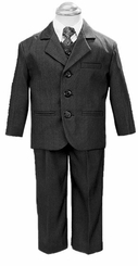 Boy's Suits: 5 Piece Charcoal Gray Suit with Shirt, Vest, and Tie