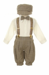 Boy Suits : Boys Brown854 Plaid Knickerbocker Knicker Boys 5 pc Set - SOLD OUT