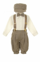 Boy Suits : Boys Brown854 Plaid Knickerbocker Knicker Boys 5 pc Set