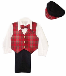 Boys 5-pc Slacks Set Red Plaid Vest, Dress Shirt, Bowtie, and Newsboy Cap  - sold out