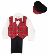 Boys 5-pc Slacks Set Red Plaid Vest, Dress Shirt, Bowtie, and Newsboy Cap