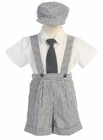 Boys Blue Seersucker Suspender Short and Tie Set