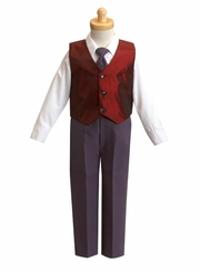 Boys Burgundy Special Occasion Christmas Vest Set - sold out