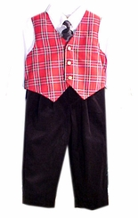 Boys Christmas Clothes - Tartan Plaid Vest Set - SOLD OUT