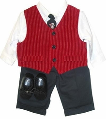 Boys Christmas Velvet Vest Set - 5 Pcs - sold out mg