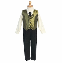 Boys Green Special Occasion Christmas Vest Set