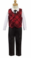 Boys Holiday Burgundy Flocked Vest Suit Set