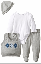Quiltex Baby-Boys Vested Bodysuit & Pant Set
