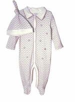 Boys Layette Set - Grey Chevron Coverall & Hat Set