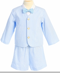 Boys Light Blue Striped Seersucker Eton Suit and Shorts