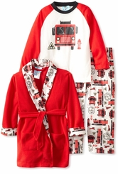 Boys Pajama Set - Fire Truck PJ & Red Robe Set