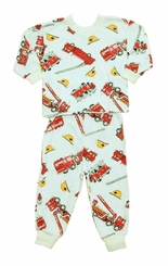 Boys Pajamas - Fire Truck Print Cotton Pajamas