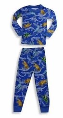 Boys Pajamas - Royal Blue Dinousaur Print Cotton Pajamas