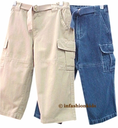 Boys Pants / Kitestrings Denim or Khaki Twill Cargo Pants