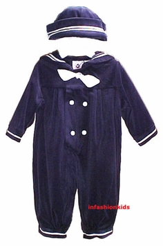 Boys Sailor Suit And Hat - Navy Velour - SOLD OUT