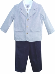 Boys Spring Suit - Navy Pant And Blazer - see style 3107