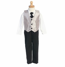 Boys Suit Silver Vest Special Occasion 3 pc set