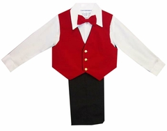 Boys Suits : Boys 4Pc Dressy Black Slack Set Velvet Red Vest