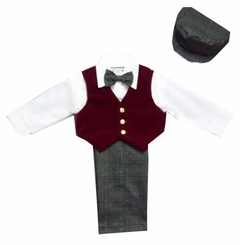 Boys Suits : Boys 5Pc Dressy Slack Set In Velvet - Burgundy - SOLD