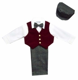 Boys Suits : Boys 5Pc Dressy Slack Set In Velvet - Burgundy