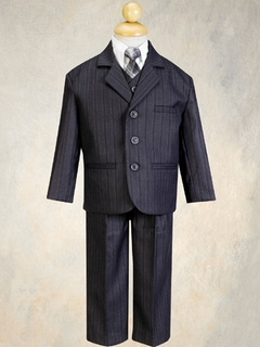 Boys Suits Charcoal Grey Pinstripe Suit With Tie