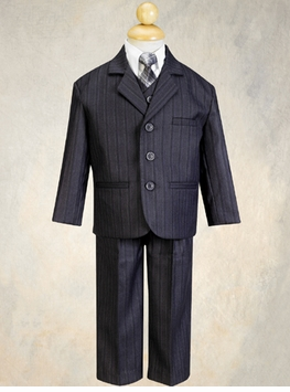 Boys Suits - Charcoal Grey Pinstripe Suit with Tie