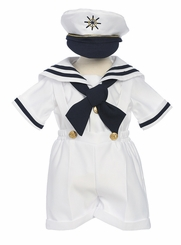 Boys WHITE Sailor Shortall Set - 4 pc