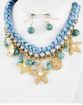 Braided Cord and Gold Sea Life Charm Necklace and Earring Set
