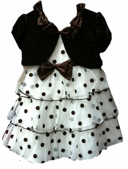 Baby Dress Brown and White Dot w/ Panty FINAL SALE