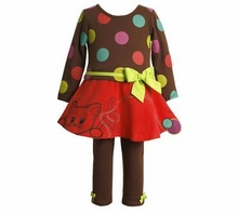 Brown Polka Dot Pant Set with Kitty Skirt 2T FINAL SALE