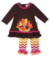 Brown Ruffle Turkey Tunic and Chevron Pant Set