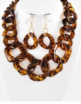 Brown Tortoise Acrylic Statment Necklace