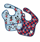 Bumkins Disney Baby Waterproof Super Bib, Mickey Checkered, 6-24 Months, 2 Count