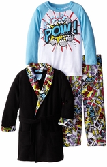 Bunz Kids Little Boys' Comic Slumber Bathrobe and Pajama Set