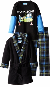 Bunz Kids Little Boys' Plaid Bathrobe and Pajama Set