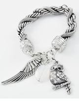 Burnished Silver Tone Rope Owl Charm Bracelet