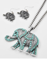 Burnished Silver Tone Turquoise Beaded Elephant Necklace Set