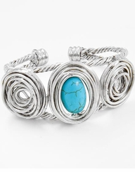 Burnished Silver Tone Turquoise Stone Cuff Bracelet - ONE LEFT