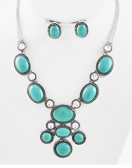 Burnished Silver Tone Turquoise Stone Necklace Set