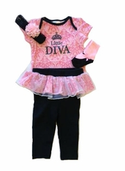 "Buster Brown Baby Girls ""Little Diva"" 4pc Pant Set"