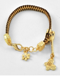 Butterfly Flower Gold Charm Black Cord Bracelet