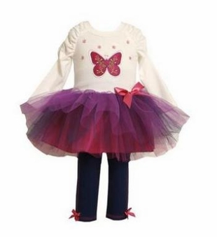 Bonnie Jean Little Girls Butterfly Tutu Tunic and Legging Set