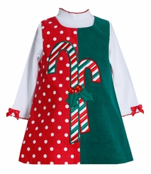 Candy Cane Mix Dot Jumper Dress - Christmas Dress