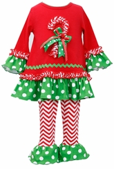 Candy Cane Set Chevron Pant - Little Girls Christmas Outfit - sold out