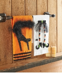 Cat or Witch Legs 3D Applique Halloween Linen Towel Set of TWO - sold out