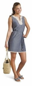 Chambray Crochet Neck Dress by Mud Pie - SOLD OUT