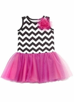 Chevron Bodice with Fuchsia Mesh Drop Waist Tutu Dress