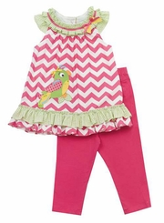 Chevron Knit Parrot Print Woven Legging Set Sizes 4 - 6 SALE